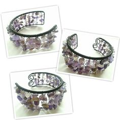 Sensational Amethyst Wire Wrapped Cuff - The Supermums Craft Fair