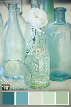 coastal vintage bottles for beachy nautical decor Coastal Colors, Coastal Decor, Coastal Style, Colour Schemes, Color Combos, Colour Palettes, Turquoise Color Palettes, Ocean Color Palette, Vintage Bottles