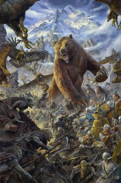 """The Battle Under the Mountain"" by Matthew Stewart.  ""In that last hour Beorn himself had appeared...in giant bear's shape...stooped and lifted Thorin, who had fallen pierced with spears, and bore him out of the fray."" The Hobbit, Ch.XVIII, The Return Journey. (Looking forward to seeing the bear in action!!)"