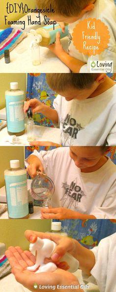 Orange Essential Oil Foaming Hand Soap Recipe - Kid Friendly