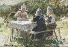 Robert Gemmell Hutchison, RSA RBA ROI RSW (British, 1855-1936) Tea Party, Volendam 25.5 x 36 cm. (10 1/16 x 14 3/16 in.)