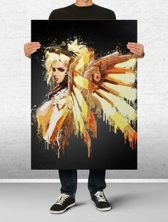 Mercy Overwatch Poster Art Print Watercolor Wall Decor Game Print Poster Gift