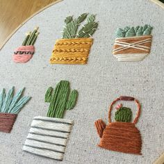 Items similar to succulent embroidery hoop on Etsy - Stickerei Ideen Cactus Embroidery, Hand Embroidery Stitches, Learn Embroidery, Embroidery Hoop Art, Hand Embroidery Designs, Embroidery Techniques, Cross Stitch Embroidery, Crochet Design, Etsy
