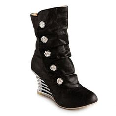 $27.96 Stylish Buttons and Fold Design Women's Short Boots