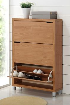 Simms 3 Drawer Modern Shoe Cabinet - Maple