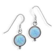 Synthetic Blue Opal French Wire Earrings