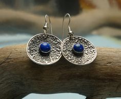 Silver and Lapis Concave Earrings  PMC  Fine Silver by Silvermaven, $36.00