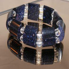 Gorgeous Blue Goldstone & Crystal Stretch Bracelet