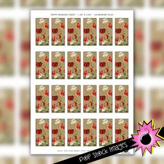Poppies Digital Domino Collage Sheet - Printable Tiles for Domino Pendants & Jewelry - Poppy Flower Domino Craft Projects Printable