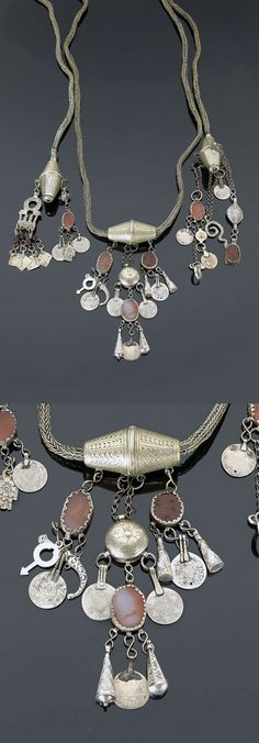 Morocco - eastern Anti Atlas region | Dress ornament for an animal; silver toned metal, carnelian cabochons and coins dating from 1309H / 1891 - 1321H / 1903 | 620€ ~ sold (May '15)