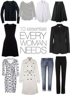 "The key to a truly successful wardrobe is the core essentials. But what does every woman really need in her wardrobe? THE one question I get asked regularly is ""what are my top 10 wardrobe essentia…"