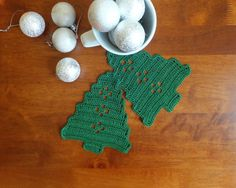 SALE 30 % Crochet Christmas tree coasters  crochet by MadeByElina
