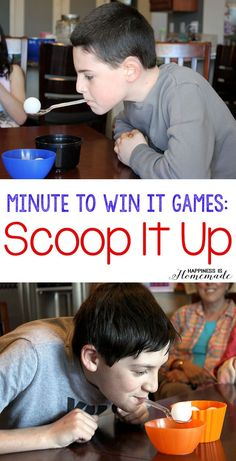SCOOP IT UP:  Using nothing but a spoon in your mouth, transfer six ping pong balls from one bowl to another) in less than one minute. No hands! Hands are only allowed if you drop the ping pong ball, and then they can be used to place the ball back into the original bowl for another transfer attempt. 2-3 players compete for each round of play.