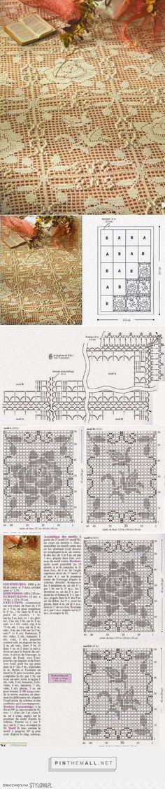 narzuta / szydełko // Crochet and arts: bedspreads - created via… Filet Crochet, Crochet Quilt, Crochet Cross, Crochet Art, Crochet Squares, Thread Crochet, Crochet Motif, Irish Crochet, Crochet Doilies