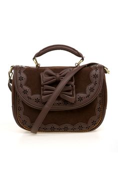 Brown purse with bows. ahh yet another pretty version of this adorable handbag <3