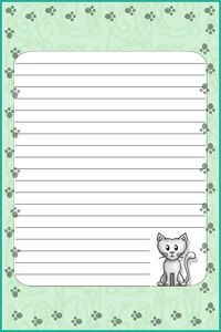 free printable stationary kitty