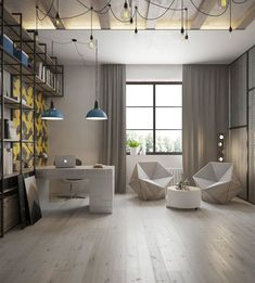 industrial themed home office