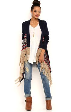 Deb Shops Long Sleeve Cozy Sweater with Open Stitch Hem and Fair Isle Border $19.50
