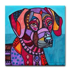 Rhodesian Ridgeback Art Tile - Ceramic Coaster Tile - Dog Art Modern Abstract