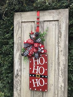 Ho Ho Ho door hanger Christmas Door HangerHoliday wreath for Christmas Wreaths With Lights, Beautiful Christmas Decorations, Christmas Door Decorations, Holiday Wreaths, Christmas Ornaments, Winter Wreaths, Christmas Centerpieces, Christmas Wood, Christmas Signs