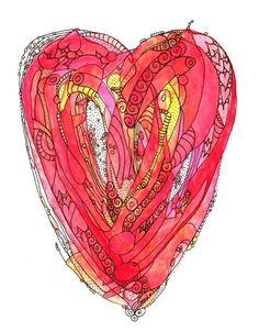 Love You More - Whimsical Funky Heart Art Print. $20.00, via Etsy.