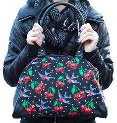 Banned Cherry Skull Swallow Bag HANDBAG shoulder 50s vintage style rockabilly