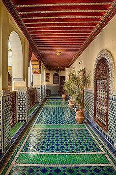 Ornate and Colorful Hallway-Brenda Tharp-Framed Photographic Print Islamic Architecture, Futuristic Architecture, Art And Architecture, Moroccan Design, Moroccan Decor, Moroccan Bedroom, Moroccan Style, Moroccan Lanterns, Design Marocain