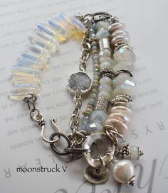 Labradorite and Moss Aquamarine Lariat Necklace  Gemstone Necklace  Cascading Gemstone Necklace  Fancey Boho Necklace