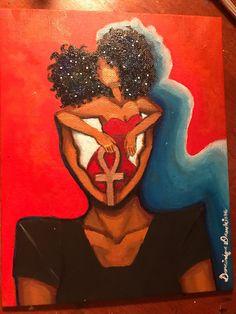 Black art Natural hair art afro art black woman galaxy