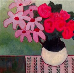 """Annie O'Brien Gonzales: Contemporary Still Life Art Painting """"ROSES & DAISIES"""" by Santa Fe Artist Annie O'Brien Gonzales"""
