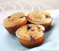 Whole-Grain and Flax Blueberry Muffins