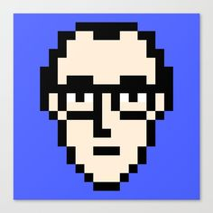 Keith Haring minimal 8bit portrait canvas print on society6 by 8bitbaba. #keithharing #artist #80s #pixelart #8bitart #8bitbaba #modernart #popart