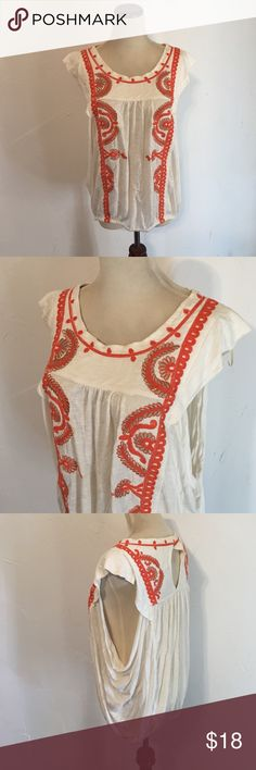 """Free People """"Dos Segundos"""" embroidered top Ivory top with beautiful orange embroidered pattern and keyhole back. Cap sleeves with open armholes and elastic at the waist. EUC! Free People Tops Blouses"""