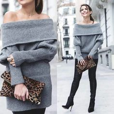 Softhearted Mohair Knitted Dress In Grey & Faux Leather Leggings In Black