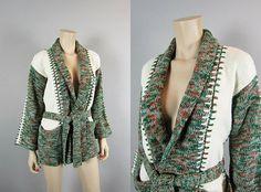 Vintage 70s Shawl Collar Space Dye Cardigan by CkshopperVintage