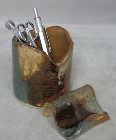 Stoneware DESK SET with  Business Card Holder and by LisaMelitaArt, $20.00