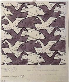 I don't quilt unless it's something I can knit, but I still see quilt patterns in things. Escher 's (born on this day in Mc Escher, Escher Kunst, Escher Art, Escher Tessellations, Tessellation Art, Op Art, Tesselations, Math Art, Dutch Artists