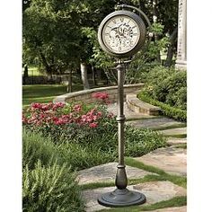 Outdoor Free Standing Clock/thermometer | Outdoor Wall Clocks U0026  Thermometers For The Home |
