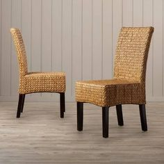 Bay Isle Home The designer look of this elegant set of two dining chairs comes from the luxurious woven water hyacinth fiber artfully woven in a beautiful braided effect. Rustic Dining Chairs, Upholstered Dining Chairs, Dining Chair Set, Parsons Chairs, Occasional Chairs, Side Chairs, End Tables, Furniture, Water Hyacinth
