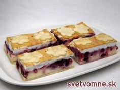Tvarohový zákusok s ovocím • Recept | svetvomne.sk Nutella, French Toast, Sandwiches, Cheesecake, Dessert Recipes, Food And Drink, Sweets, Baking, Fruit