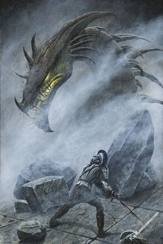 Turin faces Glaurung on the bridge at Nargothrond.  Painting by Kip Rasmussen.