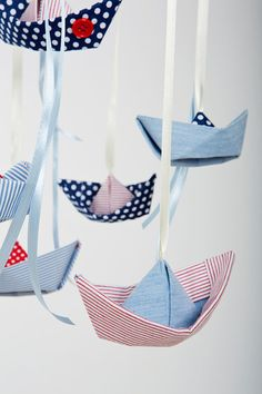 Baby crib mobile, origami fabric sailboats. Baby shower gift on Etsy, $82.00