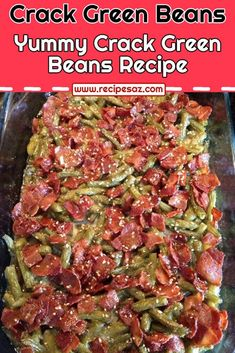 Green Beans With Bacon, Ham And Beans, Green Bean Recipes, Ham Recipes, Crockpot Recipes, Yummy Recipes, Cracked Green Beans, String Bean Recipes