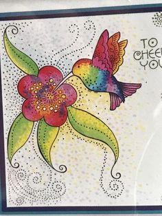 Stampendous Laurel Burch Cling Stamp Hummingbird Blossom