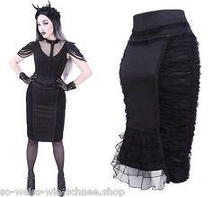 Restyle Rüschen Rock Tulle Ruffles Mini Gothic Black Mist Skirt WGT Steampunk