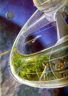 Dreams of Space - Books and Ephemera: Soviet Science Encyclopedia -- A private habitat would be very unlikely, only a huge structure would make sense to create artificial gravity and a workable society. Of course who would have known back then? Futuristic City, Futuristic Architecture, Steampunk, Illustrations Vintage, Space Books, 70s Sci Fi Art, Vintage Space, Science Fiction Art, Space Station