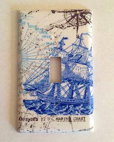 Nautical Ship Map Fabric Covered Single Light by RustyCanvas