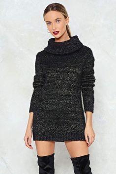 76071938dd Nasty Gal nastygal Deal With Knit Metallic Sweater Dress