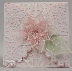 hand madecard by Heartfelt Creations: Pink Elegant Swirl ... luv the pink vellum layered poisettiea on top of layeres of die cut lace ...