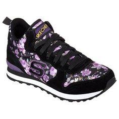 3e8f12d99509 Skechers Retros Originals 85 Mid Top Jogger Black Purple  TrendyWomensWear Sketchers  Shoes Women